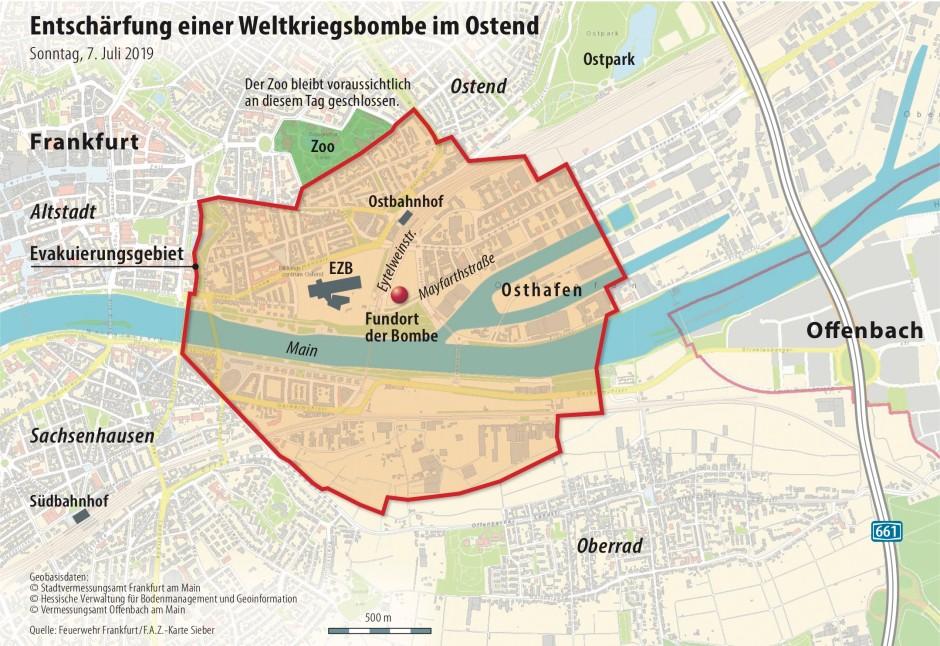Oosten Frankfurt Karte.Frankfurter Ostend Vor Der Entscharfung Der Fliegerbombe
