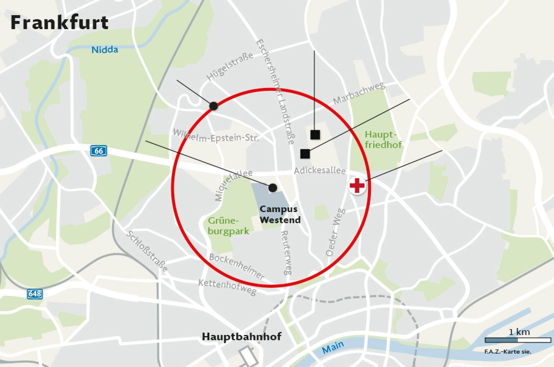 Evakuierung Frankfurt Karte