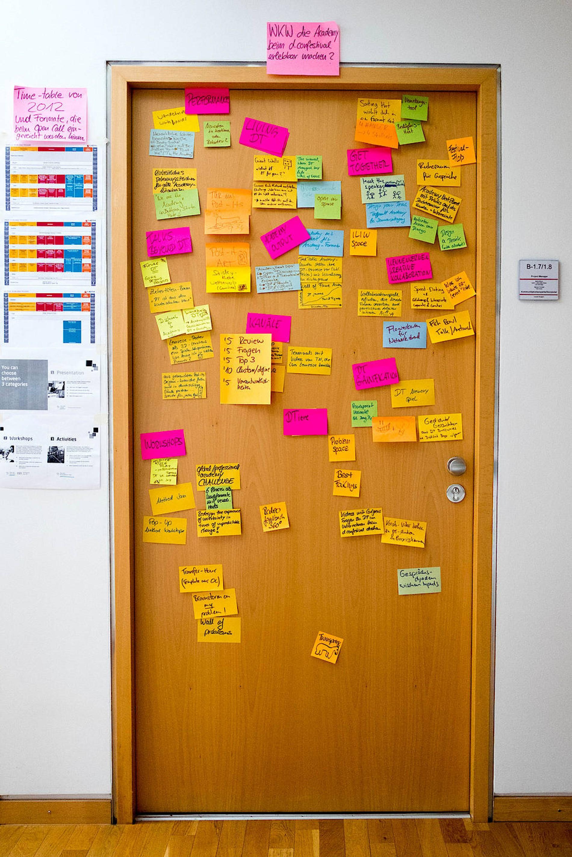 Blick auf eine Tür voller Post-Its einer Workshop-Gruppe im Hasso-Plattner-Institut Foto: Daniel Pilar